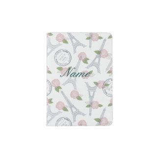 Vintage,paris,floral,pattern,trendy,girly,white, Passport Holder