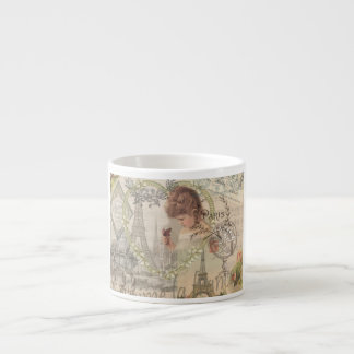 Vintage Paris France Collage Espresso Cup