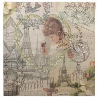 Vintage Paris France Collage Napkin