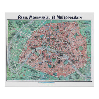 Vintage Paris France Map 1932 Poster
