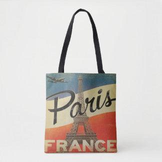 Vintage Paris France Tote airplane Eiffel tower