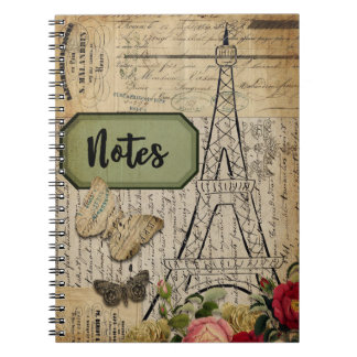 Vintage Paris French Collage Notes Notebook