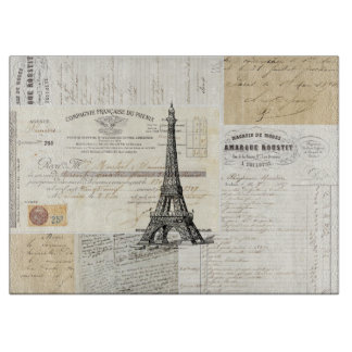 Vintage Paris French Ephemera Cutting Board