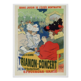 Vintage Paris garden Trianon concert ad Poster