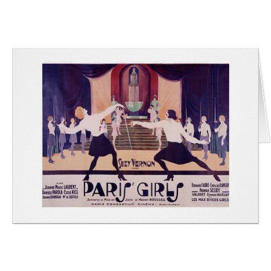 Vintage Paris Girls Fencing Note Card! Card