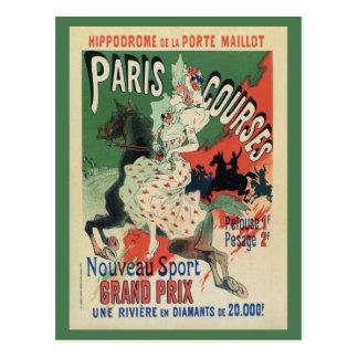 Vintage Paris horse races ad Postcard