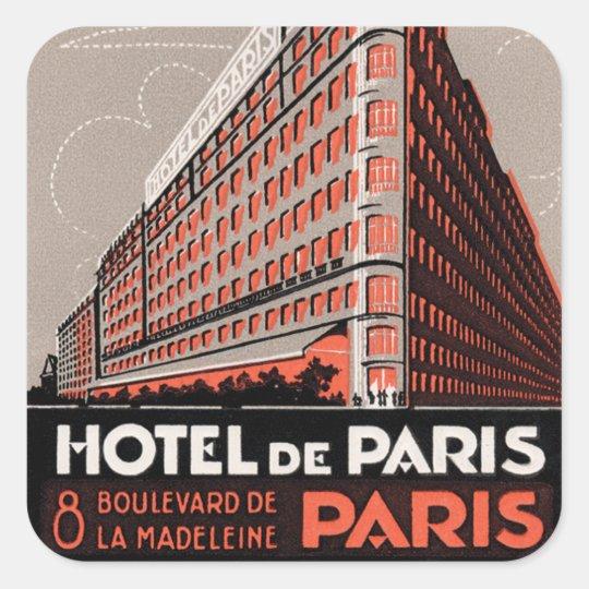 Vintage Paris Hotel Square Sticker