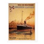 Vintage Paris Lyon Méditerranée ship travel ad Post Cards