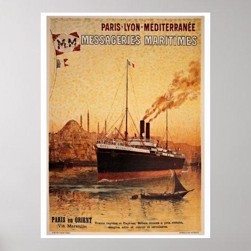 Vintage Paris Lyon Méditerranée ship travel ad Poster