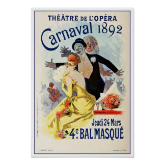 Vintage Paris Opera Theatre Carnival 1892 Print