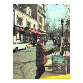 Vintage Paris, Paris Artist, Placed  de Theatre, Postcard