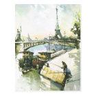 Vintage Paris, Paris Fishing in the Seine Postcard