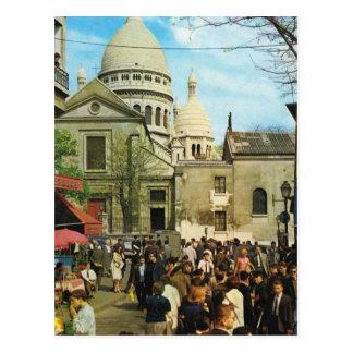 Vintage Paris Paris Montmatre Place de Theatre Postcard