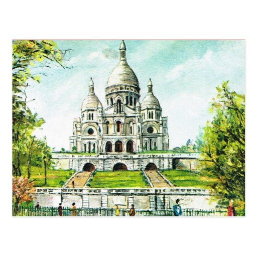 Vintage Paris, Paris, Montmatre, Sacre Coeur Postcard