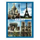 Vintage Paris, Paris Multiview Postcard