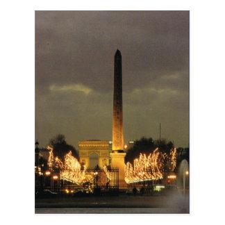 Vintage Paris, Paris Place de la Concorde by night Postcard