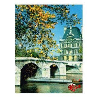 Vintage Paris, Paris River Seine, Hotel de Ville Postcard