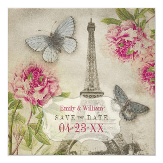 Vintage Paris Peonies Wedding Save the Date Card