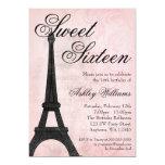 Vintage Paris Pink Black Sweet 16 Birthday 13 Cm X 18 Cm Invitation Card