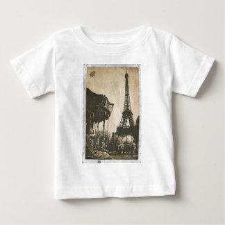 Vintage Paris Postcard, Eiffel Tower Baby T-Shirt