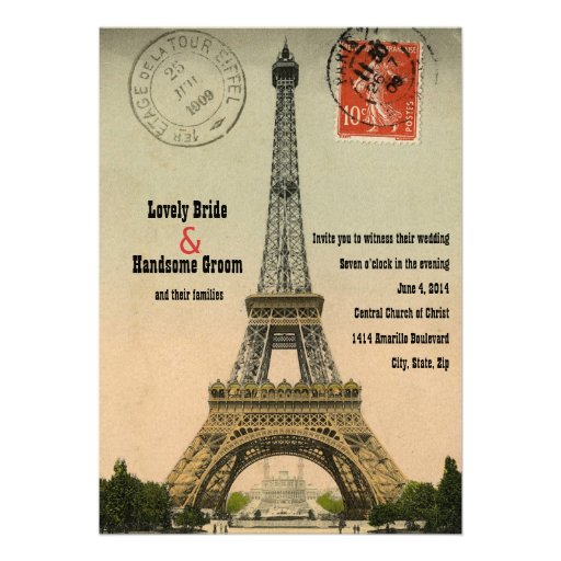 Vintage Paris Postcard Eiffel Tower Wedding Invite