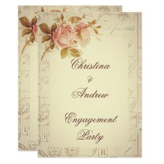 Vintage Paris Postmarks Chic Roses Engagement 13 Cm X 18 Cm Invitation Card