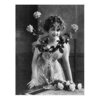 Vintage Paris Roses Portrait Postcard
