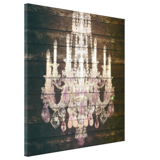 vintage paris rustic barn wood purple chandelier canvas print