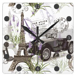 Vintage Paris Square Wall Clock