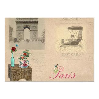"""Vintage Paris Style Invites 5"""" X 7"""" Invitation Card"""