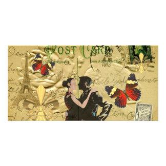 Vintage Paris Tango post card Personalised Photo Card