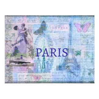 Vintage PARIS themed artwork with Eiffel Tower Postcard