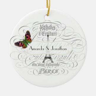 Vintage Paris Themed Wedding Customizable Christmas Ornament