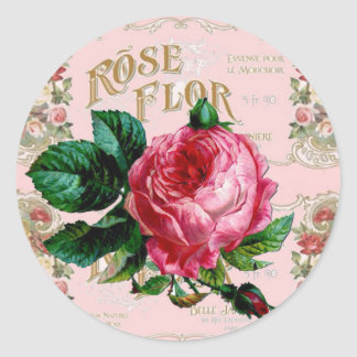 Vintage Paris Typography, Rose countrycottage Classic Round Sticker