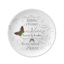 Vintage Paris Wedding Commemorative Personalised Plate