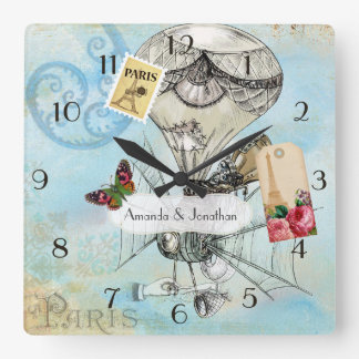 Vintage Paris Wedding Commemorative Steampunk Square Wall Clock