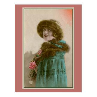 Vintage Paris women's fashion fur hat and coat Postcard