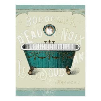 Vintage Parisian Bath Postcard