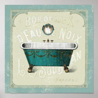 Vintage Parisian Bath Poster