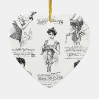 Vintage Parisian Corset Ad Ceramic Heart Decoration