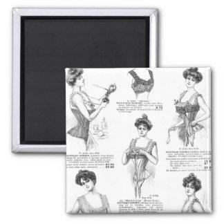 Vintage Parisian Corset Ad Square Magnet