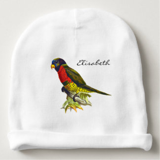 Vintage parrot illustration name baby beanie