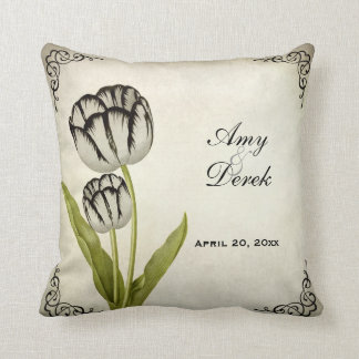 Vintage Parrot Tulip Personalized Keepsake Pillow