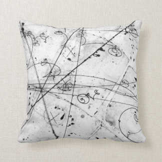 Vintage Partice Physics Tracks on White Cushion