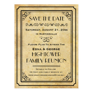 Vintage Party Family Reunion Wedding Save the Date Postcard