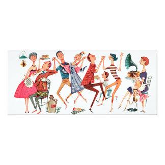 "Vintage Party Illustration Invitation 4"" X 9.25"" Invitation Card"