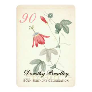 Vintage Passiflora 90th Birthday Party Invitation