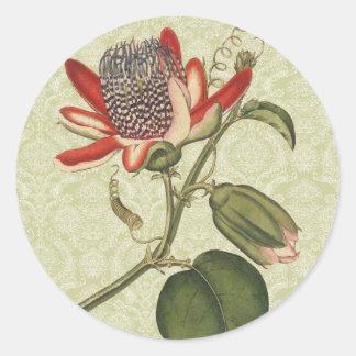 Vintage Passion Flower Round Sticker