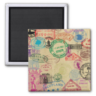 Vintage Passport Stamps 2 Inch Square Magnet