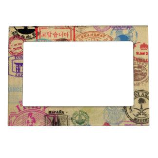 Vintage Passport Stamps 5x7 Magnetic Frame